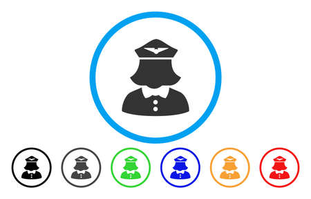 Airline Stewardess vector rounded icon. Image style is a flat gray icon symbol inside a blue circle. Additional color variants are gray, black, blue, green, red, orange.