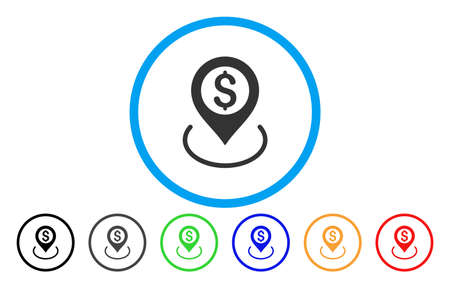 Dollaro Posizione vettore icona arrotondata. Lo stile delle immagini è un simbolo grigio icona all'interno di un cerchio blu. Altre versioni a colori sono grigio, nero, blu, verde, rosso, arancio. Vettoriali