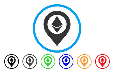 Ethereum Map Marker vector rounded icon. Image style is a flat gray icon symbol inside a blue circle. Additional color versions are grey, black, blue, green, red, orange.
