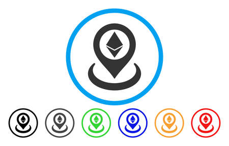 Ethereum Placement vector rounded icon. Image style is a flat gray icon symbol inside a blue circle. Additional color versions are grey, black, blue, green, red, orange. Illustration