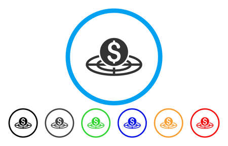 Money Crosshair vector rounded icon. Image style is a flat gray icon symbol inside a blue circle. Additional color variants are grey, black, blue, green, red, orange. Illustration