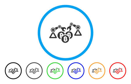 Bitcoin Mining Robotics Flat Vector Pictogram For Application