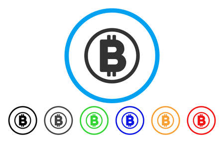 Bitcoin Rounded flat vector pictogram for application and web design. Ilustracja