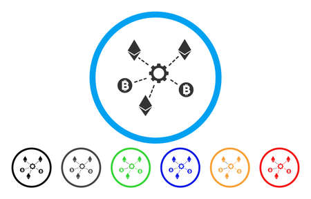 Cryptocurrency Network Nodes flat vector pictogram for application and web design.