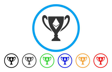 Ethereum Award Cup flat vector pictogram for application and web design.