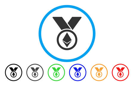 Ethereum Award Medal flat vector icon for application and web design. Иллюстрация