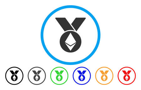 Ethereum Medal With Ribbons flat vector pictogram for application and web design. Illustration
