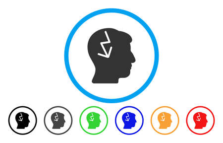 ruch: Brain Electric Strike vector rounded icon. Image style is a flat gray icon symbol inside a blue circle. Bonus color variants are gray, black, blue, green, red, orange.