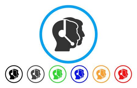Los operadores del centro de llamadas vector icono redondeado. El estilo de la imagen es un símbolo de icono gris plano dentro de un círculo azul. Las versiones de color adicionales son gris, negro, azul, verde, rojo, naranja.