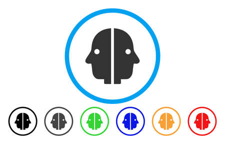 Dual Face vector rounded icon. Image style is a flat gray icon symbol inside a blue circle. Additional color versions are gray, black, blue, green, red, orange.