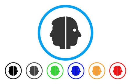 Dual Face vector rounded icon. Image style is a flat gray icon symbol inside a blue circle. Bonus color versions are grey, black, blue, green, red, orange.