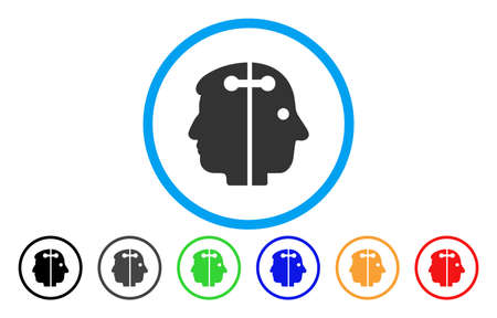 Dual Head Connection vector rounded icon. Image style is a flat gray icon symbol inside a blue circle. Bonus color versions are gray, black, blue, green, red, orange.