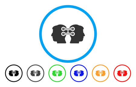 Dual Heads Interface Connection vector rounded icon. Image style is a flat gray icon symbol inside a blue circle. Additional color versions are gray, black, blue, green, red, orange.