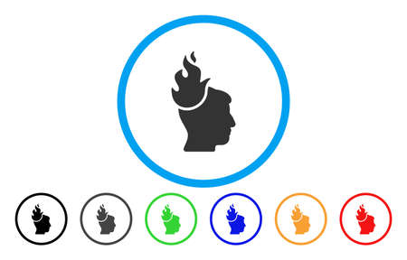 Fired Head vector rounded icon. Image style is a flat gray icon symbol inside a blue circle. Bonus color variants are grey, black, blue, green, red, orange. Illustration