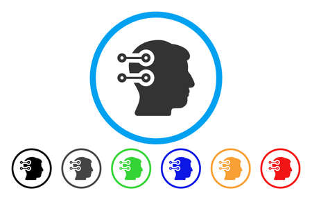 Head Connectors vector rounded icon. Image style is a flat gray icon symbol inside a blue circle. Bonus color variants are grey, black, blue, green, red, orange. Illustration