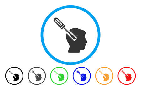 Head Screwdriver Tuning vector rounded icon. Image style is a flat gray icon symbol inside a blue circle. Bonus color variants are gray, black, blue, green, red, orange. Illustration