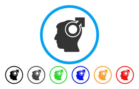 Intellect Potency vector rounded icon. Image style is a flat gray icon symbol inside a blue circle. Bonus color variants are grey, black, blue, green, red, orange. Illustration