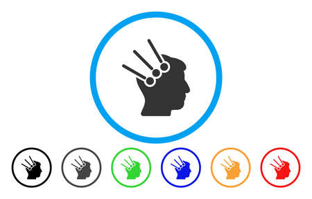 Neural Interface Connectors vector rounded icon. Image style is a flat gray icon symbol inside a blue circle. Bonus color versions are grey, black, blue, green, red, orange. Illustration