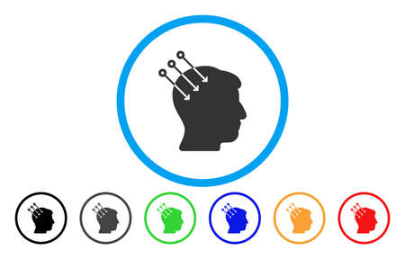 Neural Interface Connectors vector rounded icon. Image style is a flat gray icon symbol inside a blue circle. Bonus color variants are grey, black, blue, green, red, orange.