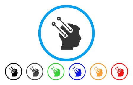 Neural Interface vector rounded icon. Image style is a flat gray icon symbol inside a blue circle. Bonus color versions are grey, black, blue, green, red, orange. Illustration