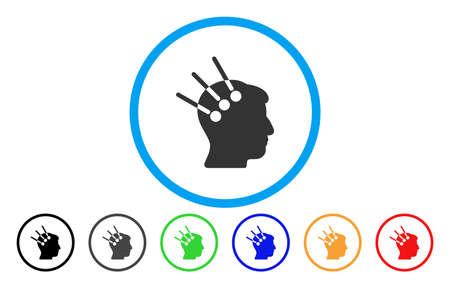 Neural Interface vector rounded icon. Image style is a flat gray icon symbol inside a blue circle. Bonus color variants are gray, black, blue, green, red, orange. Illustration