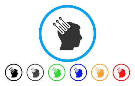 Neuro Interface vector rounded icon. Image style is a flat gray icon symbol inside a blue circle. Bonus color versions are gray, black, blue, green, red, orange.