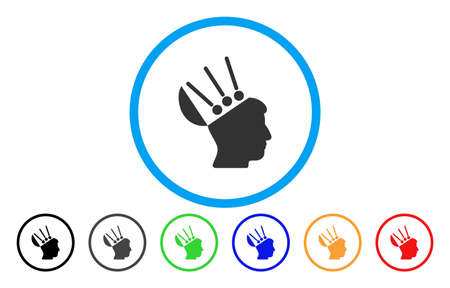 Open Mind Interface vector rounded icon. Image style is a flat gray icon symbol inside a blue circle. Bonus color variants are grey, black, blue, green, red, orange. Illustration