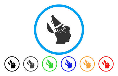 Open Mind Megaphone vector rounded icon. Image style is a flat gray icon symbol inside a blue circle. Bonus color variants are grey, black, blue, green, red, orange.