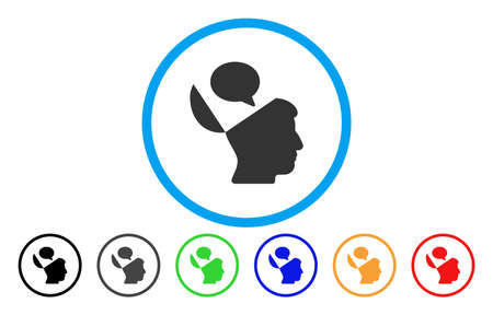 Open Mind Opinion vector rounded icon. Image style is a flat gray icon symbol inside a blue circle. Bonus color versions are gray, black, blue, green, red, orange.
