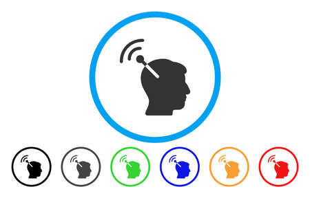 Radio Neural Interface vector rounded icon. Image style is a flat gray icon symbol inside a blue circle. Additional color versions are gray, black, blue, green, red, orange.