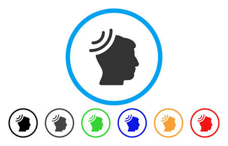 Radio Reception Brain vector rounded icon. Image style is a flat gray icon symbol inside a blue circle. Additional color versions are gray, black, blue, green, red, orange.
