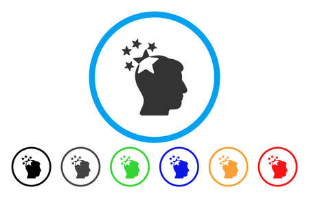 ruch: Stars Hit Head vector rounded icon. Image style is a flat gray icon symbol inside a blue circle. Additional color versions are gray, black, blue, green, red, orange. Illustration