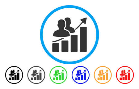 Audience Growth Bar Chart vector rounded icon. Image style is a flat gray icon symbol inside a blue circle. Additional color versions are gray, black, blue, green, red, orange.