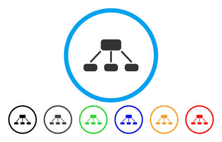 Hierarchy vector rounded icon. Image style is a flat gray icon symbol inside a blue circle. Bonus color variants are gray, black, blue, green, red, orange.