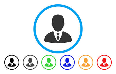 Manager vector rounded icon. Image style is a flat gray icon symbol inside a blue circle. Additional color versions are grey, black, blue, green, red, orange.