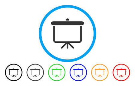Projectiebord vector afgerond pictogram. Beeldstijl is een plat grijs pictogramsymbool in een blauwe cirkel. Extra kleurversies zijn grijs, zwart, blauw, groen, rood, oranje.