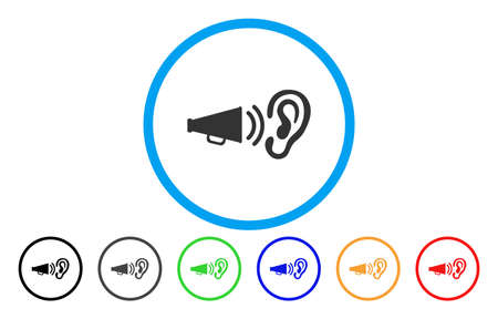 Listen Megaphone News vector rounded icon. Image style is a flat gray icon symbol inside a blue circle. Additional color versions are gray, black, blue, green, red, orange.  イラスト・ベクター素材
