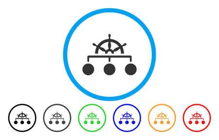 Regelstructuur vector afgerond pictogram, afbeeldingstijl is een plat grijs pictogramsymbool in een blauwe cirkel, aanvullende kleurversies zijn grijs, zwart, blauw, groen, rood, oranje.
