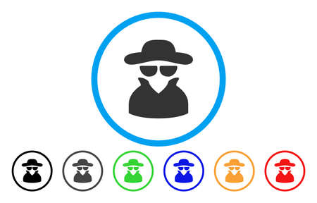 Spy vector rounded icon, Image style is a flat gray icon symbol inside a blue circle, with Bonus color versions are gray, black, blue, green, red, orange. Ilustração