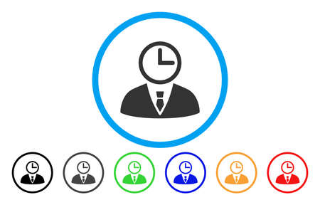 Time Manager vector rounded icon. Image style is a flat gray icon symbol inside a blue circle. Bonus color variants are gray, black, blue, green, red, orange.