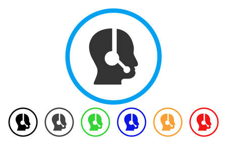 talker: Call Center Operator vector rounded icon. Image style is a flat gray icon symbol inside a blue circle. Additional color versions are gray, black, blue, green, red, orange. Illustration