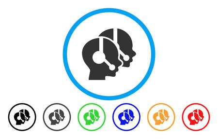 call center del icono del vector de los operadores . el estilo del icono es un símbolo gris símbolo plano dentro de un color azul con puntos adicionales de ajedrez . ilustración de vector de forma de agua . ilustración de vector