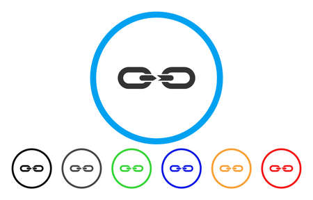 Chain Break vector rounded icon. Image style is a flat gray icon symbol inside a blue circle. Additional color versions are grey, black, blue, green, red, orange.
