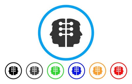 Dual Head Interface vector rounded icon. Image style is a flat gray icon symbol inside a blue circle. Bonus color versions are grey, black, blue, green, red, orange.