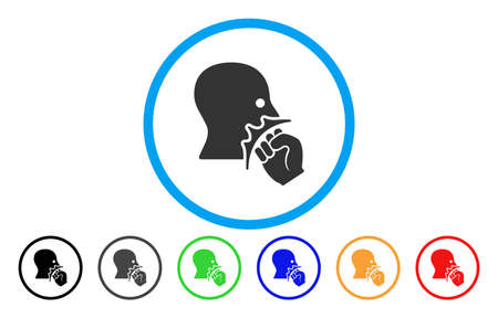 Face Violence Strike vector rounded icon. Image style is a flat gray icon symbol inside a blue circle. Additional color variants are grey, black, blue, green, red, orange. Illustration