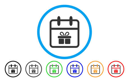 Gift Day vector rounded icon. Image style is a flat gray icon symbol inside a blue circle. Additional color versions are gray, black, blue, green, red, orange.