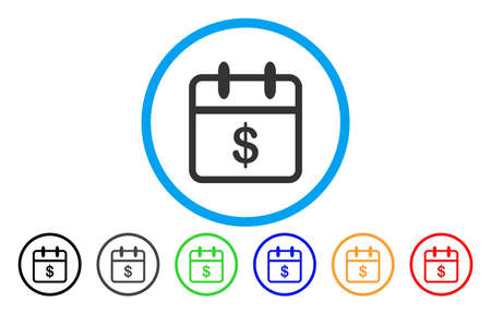 Money Day vector rounded icon. Image style is a flat gray icon symbol inside a blue circle. Bonus color variants are gray, black, blue, green, red, orange. Illustration