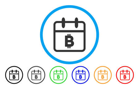 Bitcoin Day vector rounded icon. Image style is a flat gray icon symbol inside a blue circle. Additional color variants are gray, black, blue, green, red, orange. Illustration
