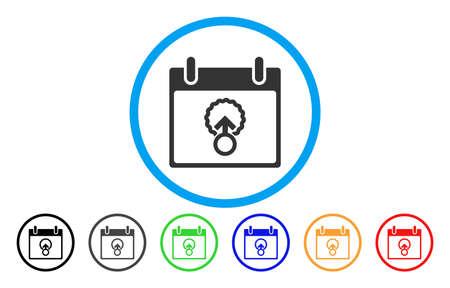 Vektor der abgerundeten Ikone des Zellen-Durchdringungs-Kalender-Tages. Bildstil ist ein flaches graues Symbol in einem blauen Kreis. Weitere Farbversionen sind Grau, Schwarz, Blau, Grün, Rot und Orange.