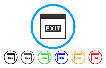 Exit Caption Calendar Page vector rounded icon. Image style is a flat gray icon symbol inside a blue circle. Additional color variants are grey, black, blue, green, red, orange.